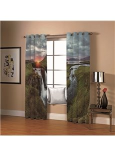 3D Sunrise Towering Mountains and Running Water Printed Blackout Scenery Curtains 200g/m² Polyester 70% Shading Rate and UV Rays Environmentally Frien