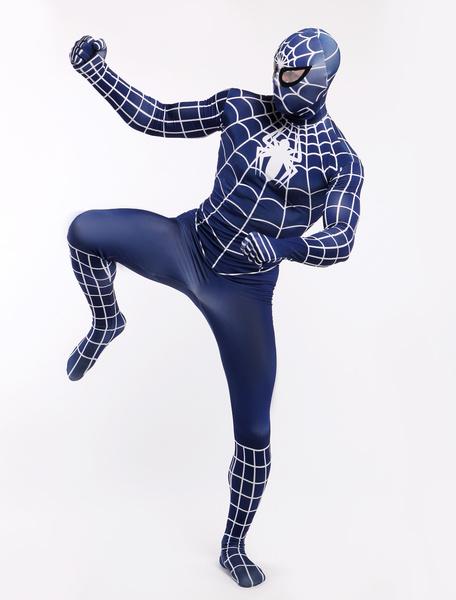 Milanoo Navy Blue Spiderman Zentai Suit Halloween Lycra Spandex Super Hero Costume Halloween