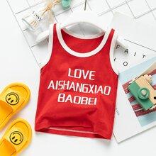 Toddler Boys Contrast Binding Slogan Graphic Tank Top