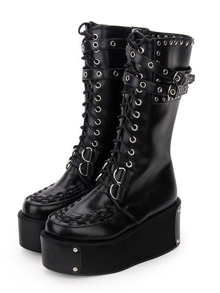 Milanoo Gothic Lolita Boots Rivet Grommet Buckle Lace Up Zipper Platform Black Lolita Footwear