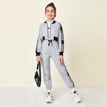 Sweatshirt und Jogginghose Set mit Kontrast Buchstaben Muster und Ziernaht