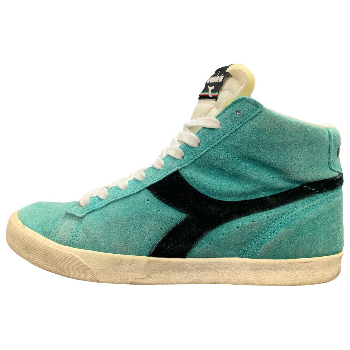 Diadora - Baskets   pour homme en suede - turquoise