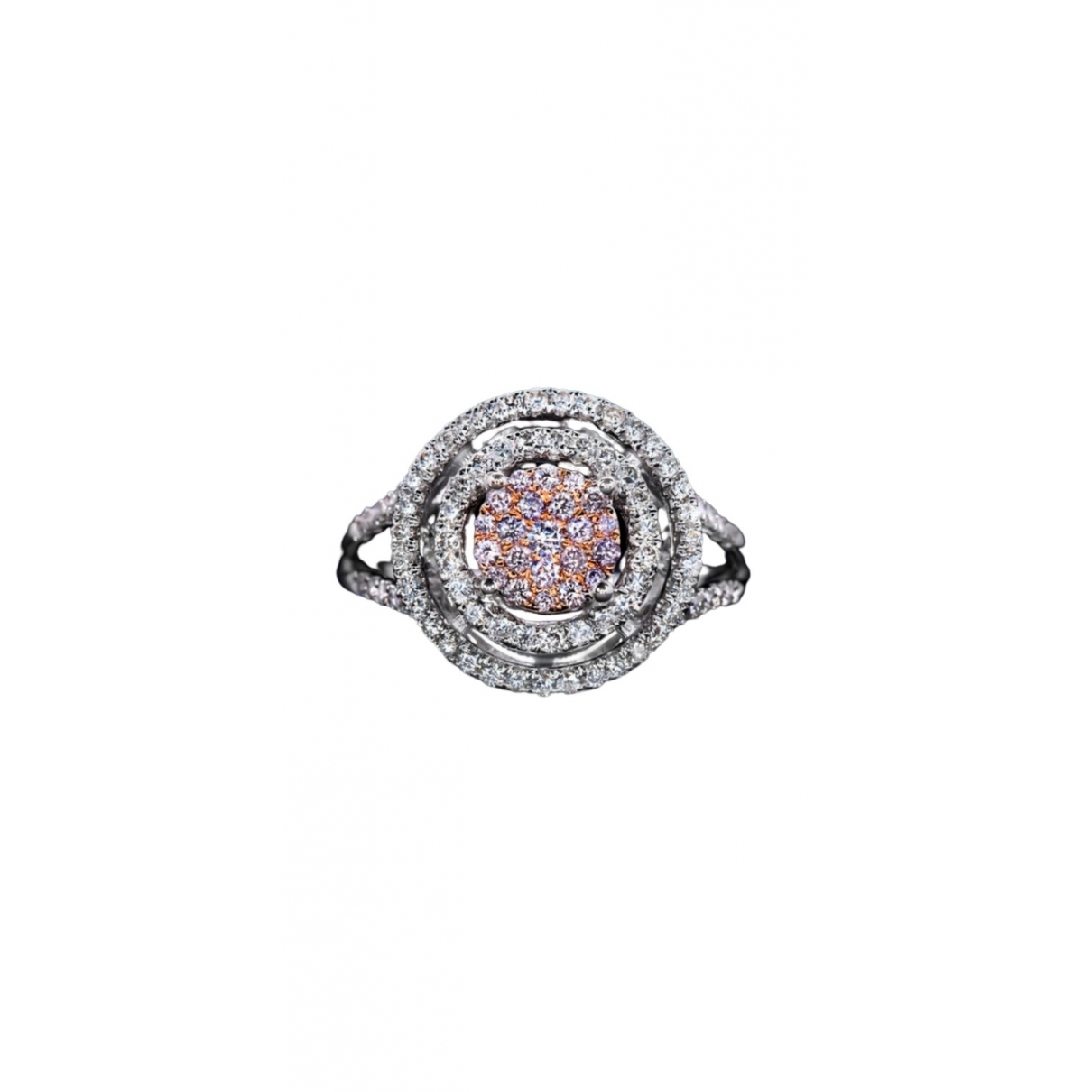 Non Signe / Unsigned Solitaire Ring in  Rosa Weissgold