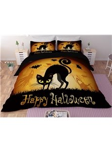 Black Cat and Bats Halloween Printing 3D Polyester 4-Piece Bedding Sets/Duvet Covers