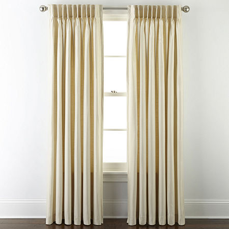 JCPenney Home Supreme Energy Saving Light-Filtering Pinch-Pleat Single Curtain Panel, One Size , White