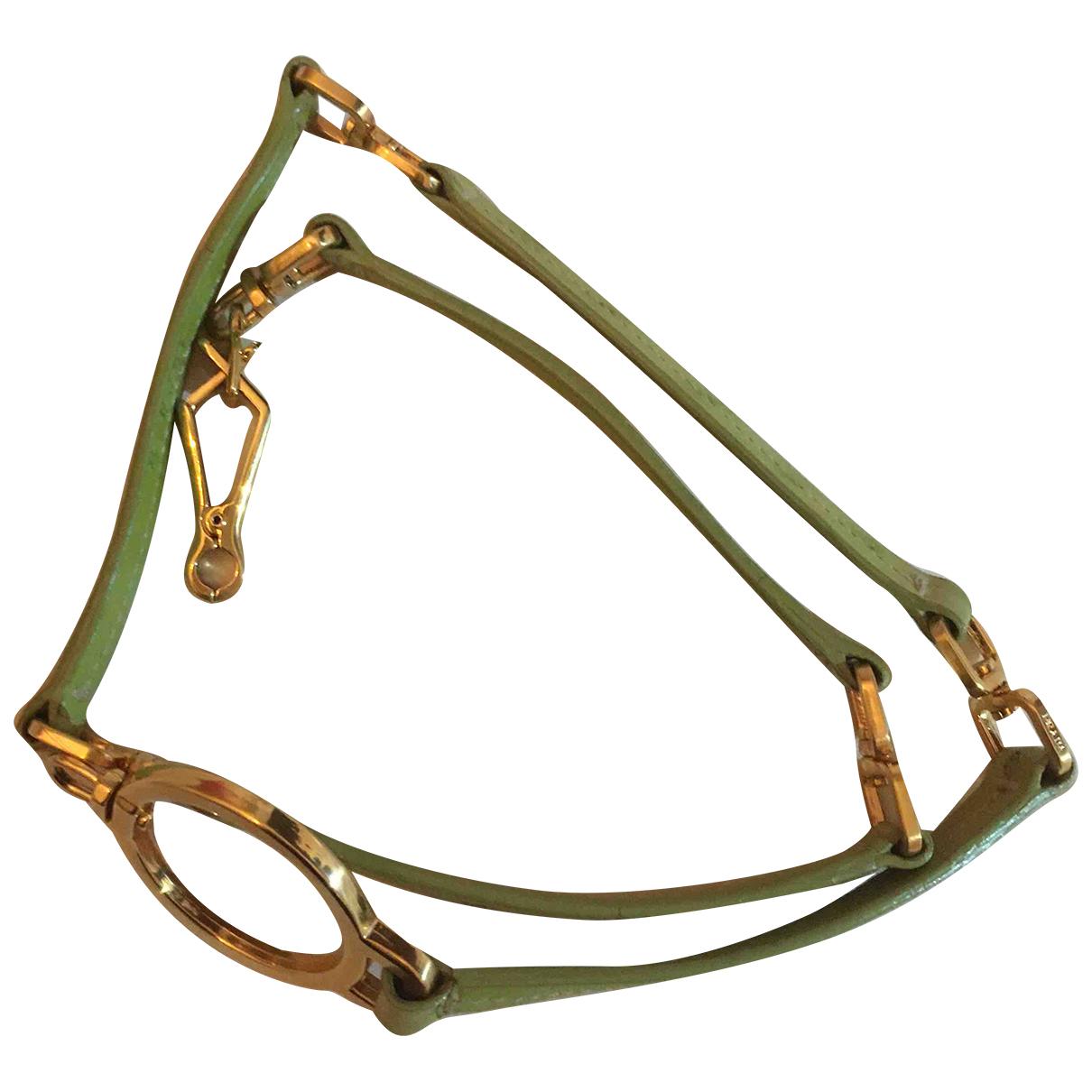 Prada N Green Ostrich belt for Women 75 cm