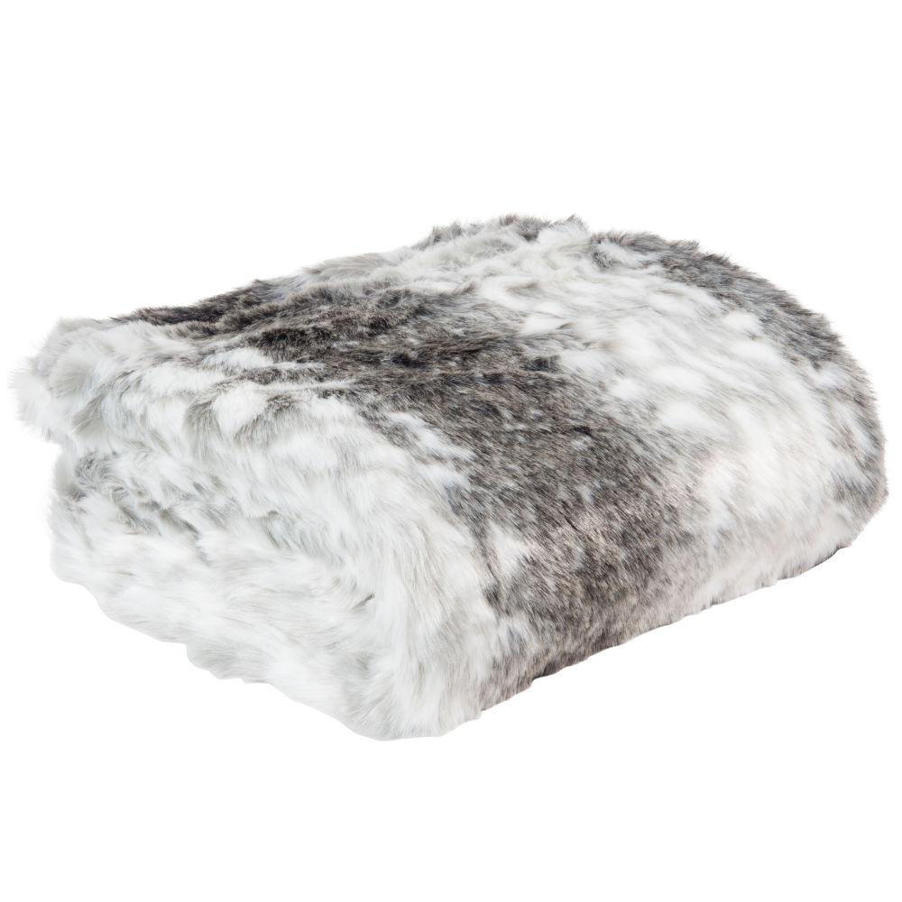 Decke aus grauem Kunstpelz 150x180
