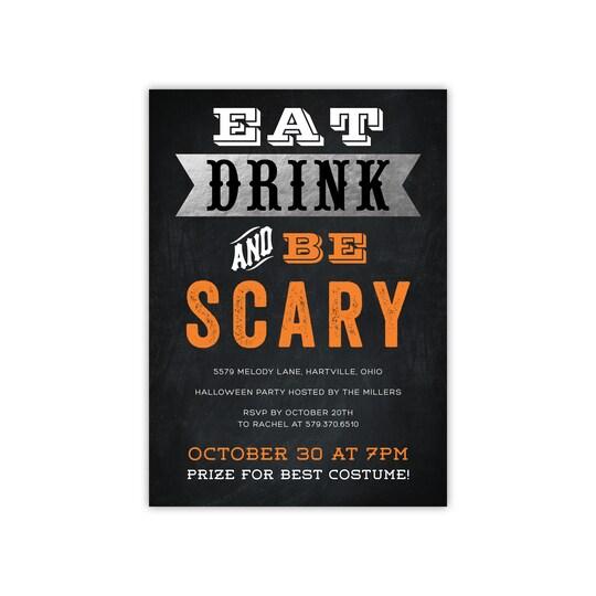 20 Pack of Gartner Studios® Personalized Eat Drink Scary Flat Halloween Foil Invitation in Orange   5