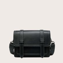 Stitch Trim Flap Shoulder Bag
