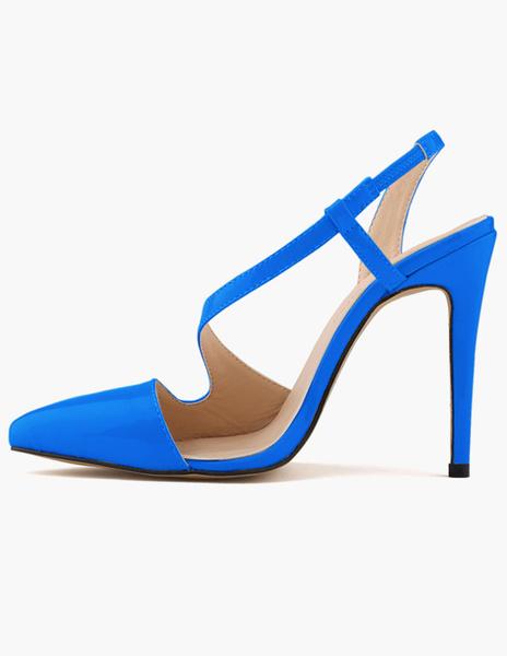 Milanoo Talones de dedo del pie puntiagudo de las mujeres modernas de la PU de la patente
