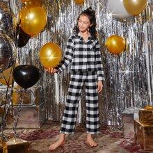 Girls Christmas Buffalo Plaid Top & Pants PJ Set