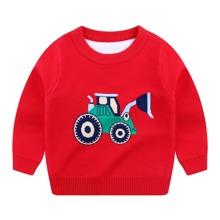Pullover mit Auto Muster und rundem Kragen