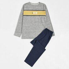 T-Shirt mit Kontrast Einsatz, Buchstaben Grafik & Hose Schlafanzug Set