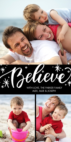 Christmas Photo Cards Flat Matte Photo Paper Cards with Envelopes, 4x8, Card & Stationery -Christmas Believe Script by Tumbalina