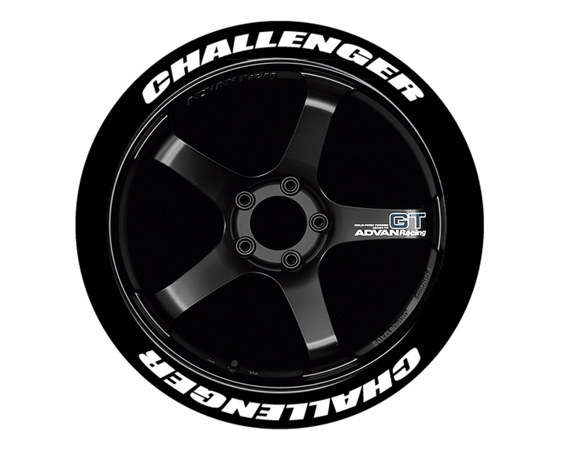 Tire Stickers CHALL-1718-1-4-R Permanent Raised Rubber Lettering 'Challenger' - 8 Of Each - 17