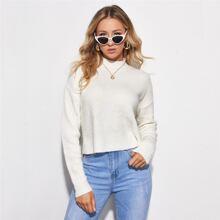 Pullover mit Stehkragen und Wickel Design am Saum