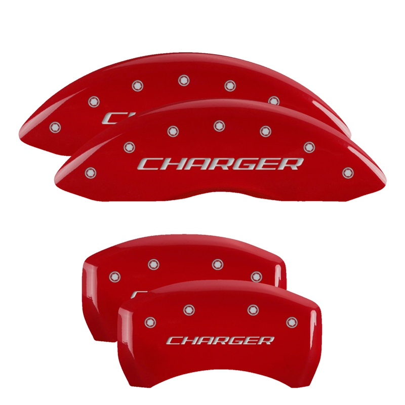 MGP Caliper Covers 12005SCHBRD Set of 4: Red finish, Silver Charger / Charger (Block) Dodge