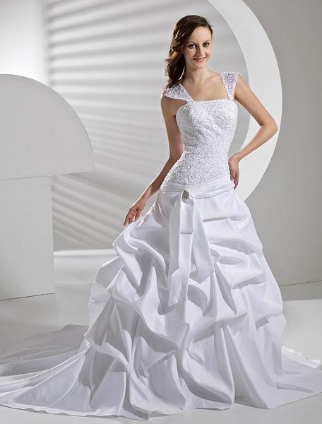 Milanoo 2020 Wedding Dress Princess Ball Gown Straps Lace Up Satin Draped Beading Bridal Dress
