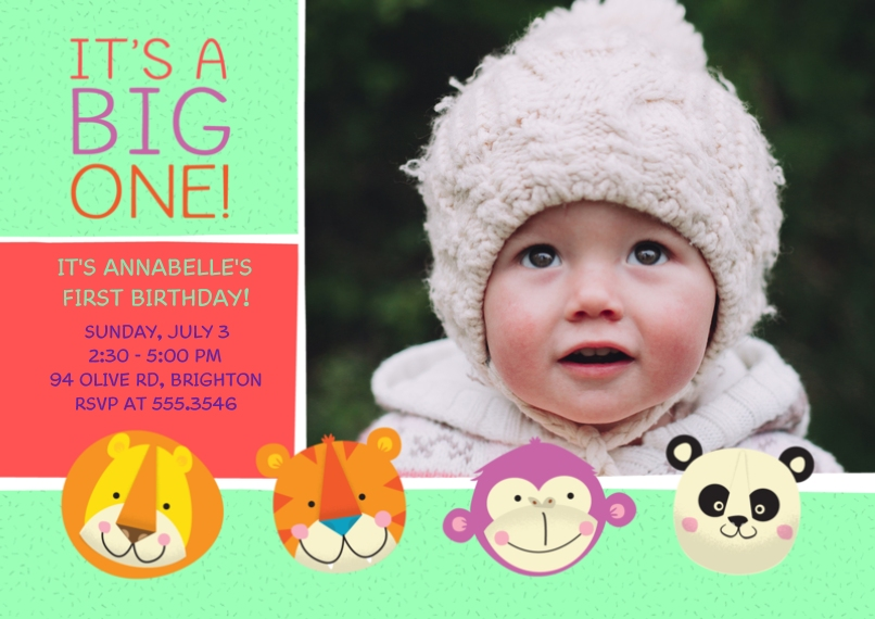 1st Birthday Invitations 5x7 Cards, Premium Cardstock 120lb with Elegant Corners, Card & Stationery -Zoo Animals 1st Birthday
