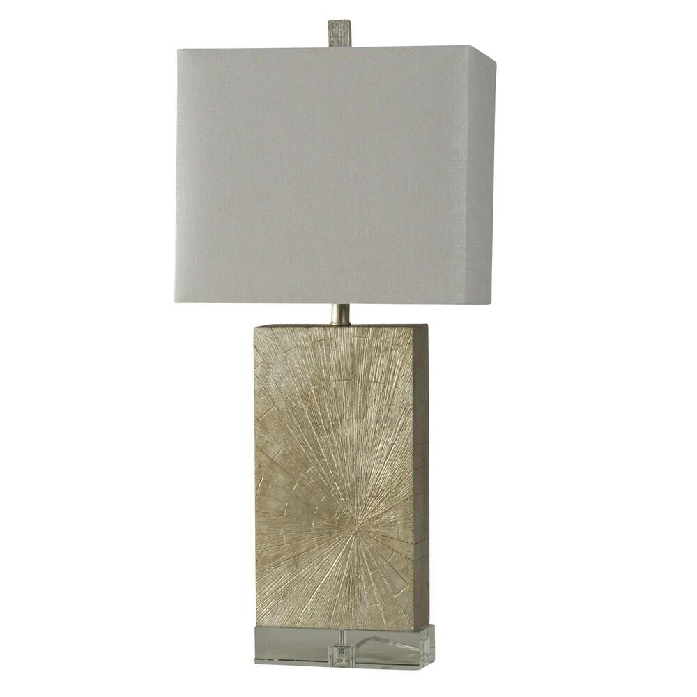 StyleCraft Jane Seymour Contemporary Silver Wood Table Lamp - White Hardback Fabric Shade (Silver Wood)