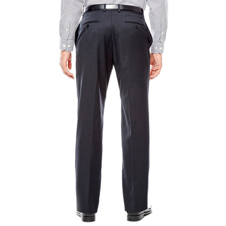 Collection by Michael Strahan Black Herringbone Flat-Front Suit Pants - Classic Fit, 44 30, Black