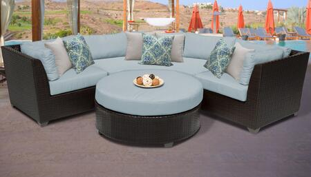 Barbados BARBADOS-04a-SPA 4-Piece Wicker Patio Set 04a with 2 Corner Chairs  1 Coffee Table and 1 Curved Armless Sofa - Wheat and Spa
