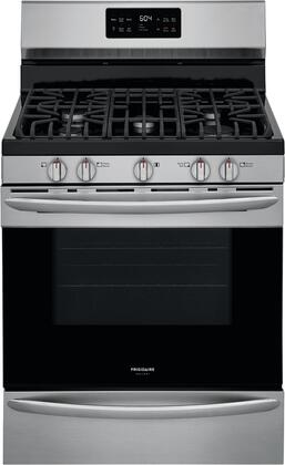 GCRG3038AF 30 Gallery Series Stainless Steel Freestanding Gas Range with 5 cu. ft. Oven Capacity  5 Burners  Cast Iron Continuous Grates and Steam