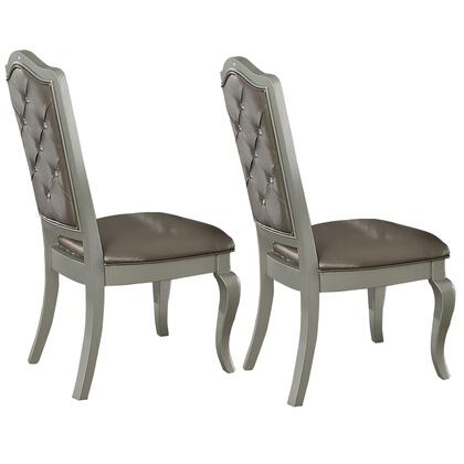 BM191302 Faux Leather Upholstered Wooden Side Chair with Cabriole Legs  Silver and Gray  Set of