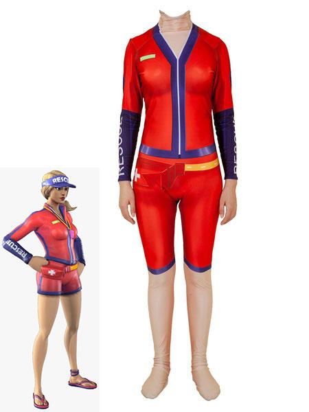 Milanoo Fortnite Cosplay Costumes Sun Strider Red Fortnite Game Leotard Jumpsuit Lycra Spandex Kids Game Cosplay Costumes