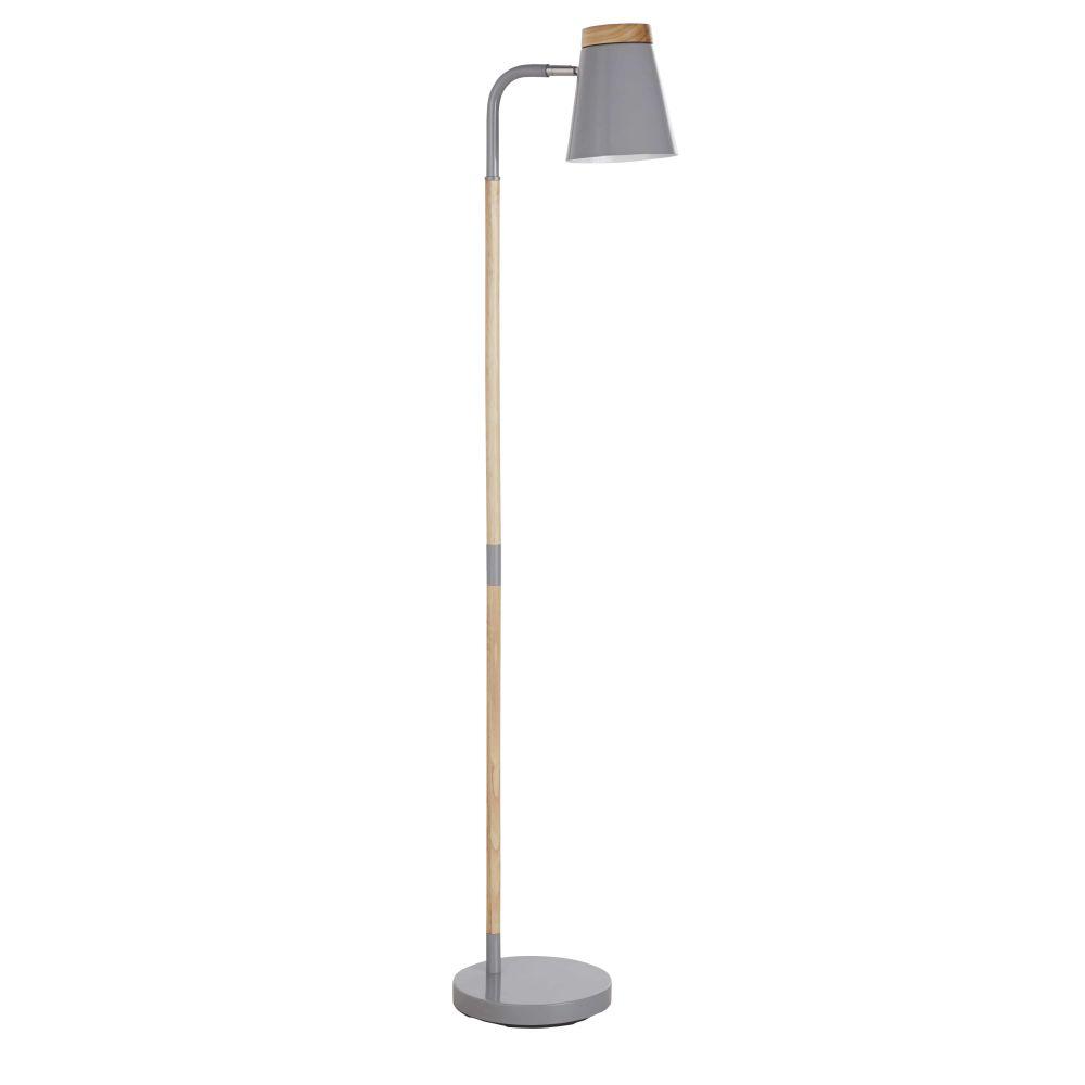 Stehlampe aus grauem Metall und Heveaholz H.140