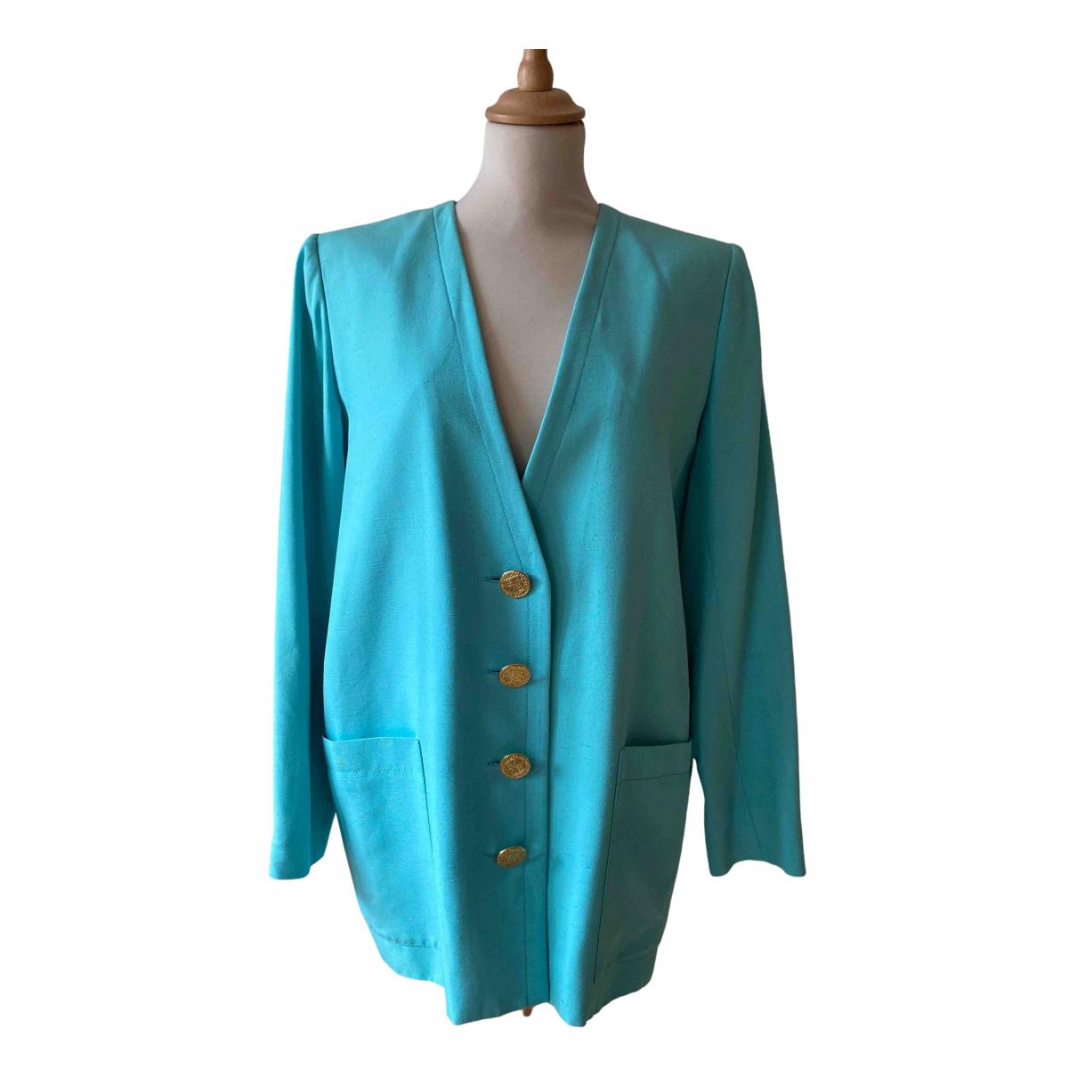 Yves Saint Laurent - Veste   pour femme en coton - turquoise