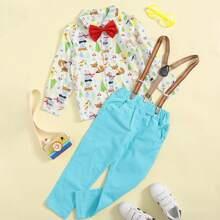 Toddler Boys Cartoon Graphic Bow Detail Shirt With Pinafore Pants