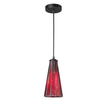70000-1IR Lumino 1-Light Pendant in Inferno Red in Matte Bk