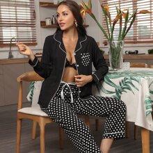 Schlafanzug Set mit Kontrast Bindung, Punkten Muster und Band vorn