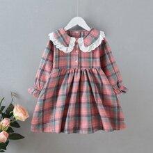 Toddler Girls Contrast Schiffy Plaid A-line Dress