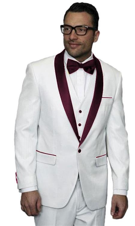Men Alberto Nardoni White and Burgundy Maroon Wine Wedding Prom Tuxedo