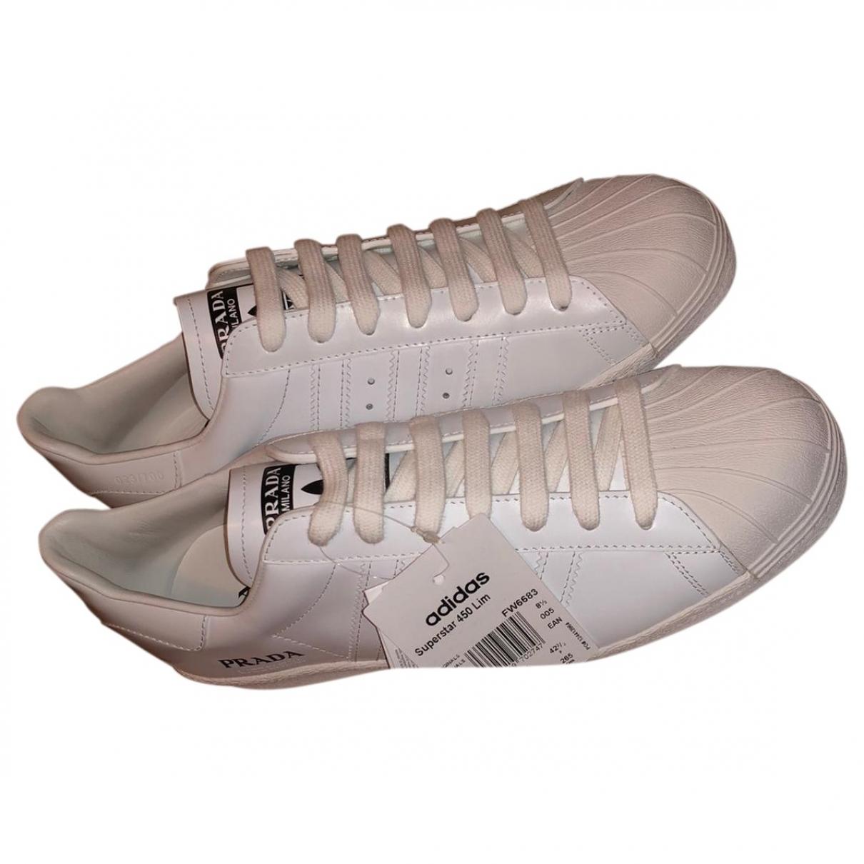 Prada X Adidas - Baskets   pour femme en cuir - blanc
