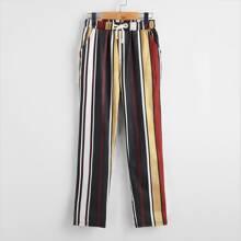 Boys Drawstring Waist Slant Pocket Striped Pants