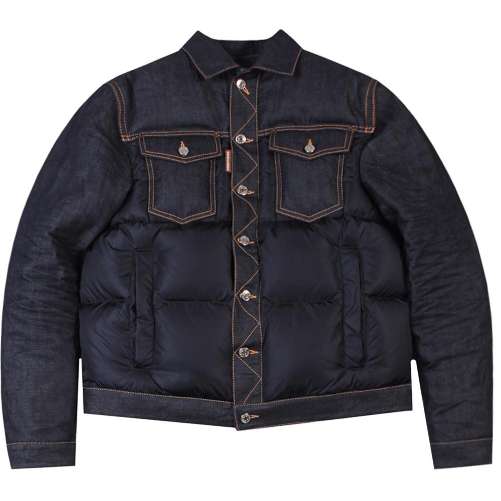 Dsquared2 Denim Puffer Jacket Colour: NAVY, Size: EXTRA LARGE