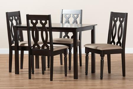 RH334C-SAND/DARKBROWN-5PCDININGSET Cherese Modern and Contemporary Sand Fabric Upholstered Espresso Brown Finished 5-Piece Wood Dining