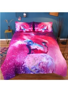 Vivilinen 3D Colorful Galaxy Cat Printed Cotton 4-Piece Bedding Sets/Duvet Covers
