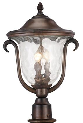Santa Barbara Outdoor 9012BB Outdoor 3-Light Medium Post Mount Lantern in Burnished