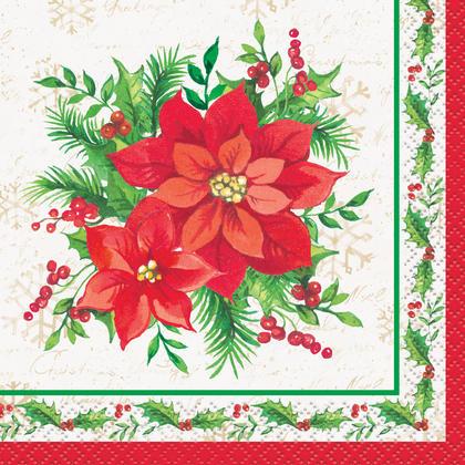 Festive Poinsettia Christmas Beverage Napkins, 16ct