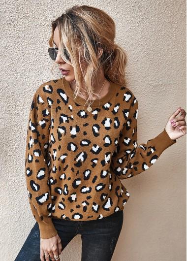 Trendy Long Sleeve Leopard Keyhole Back Sweater - M