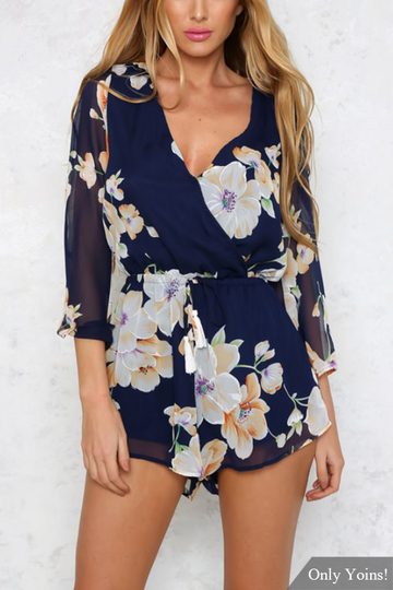Yoins Sheer V-neck Floral Print Playsuit with Flared Sleeves