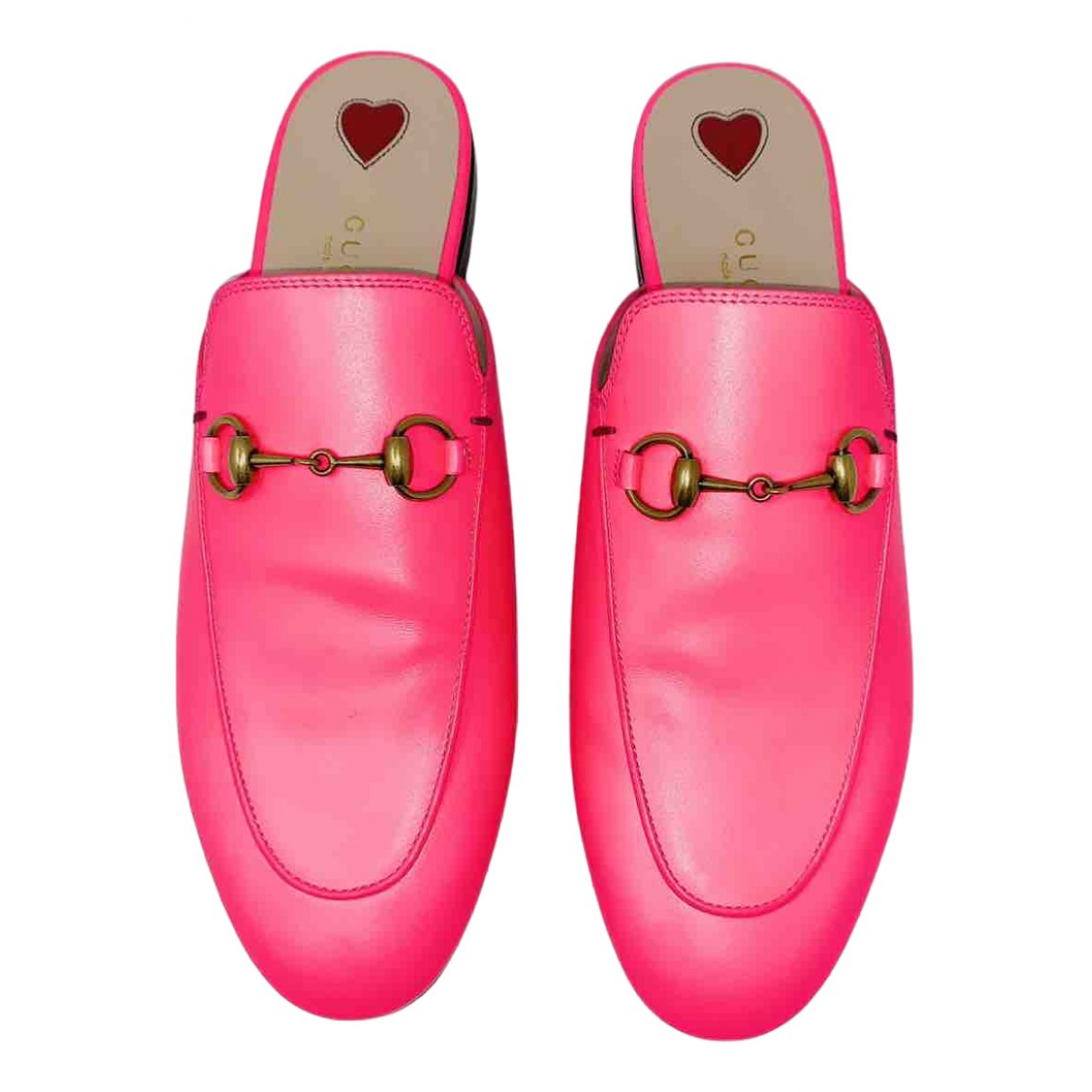 Gucci Princetown Pink Leather Flats for Women 37.5 IT