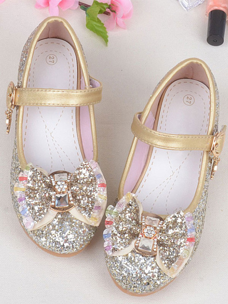 Milanoo Gold Flower Girl Shoes Glitter Round Toe Bow Buckle Detail Party Shoes