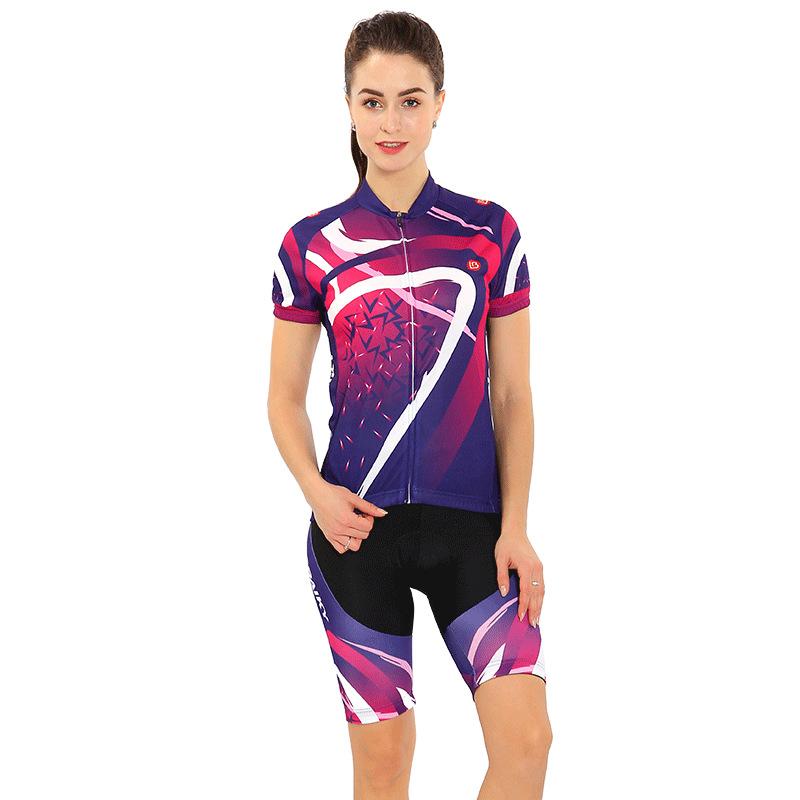 Women's Short Sleeve Cycling Blue Stripe Breathable Jersey