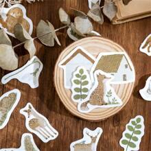 46 Stuecke DIY Aufkleber mit Tier & Pflanzen Muster