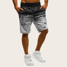 Men Contrast Ombre Drawstring Shorts